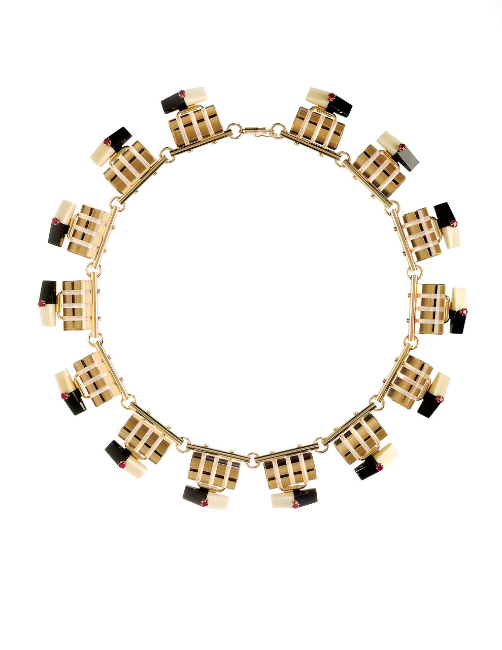 LUCENT LINES SERIES NO. 20 NECKLACE of polished clear optical, black and cream Vitrolite glass, ruby details, fourteen karat yellow gold, 16.5 centimeters diameter, 2004.
