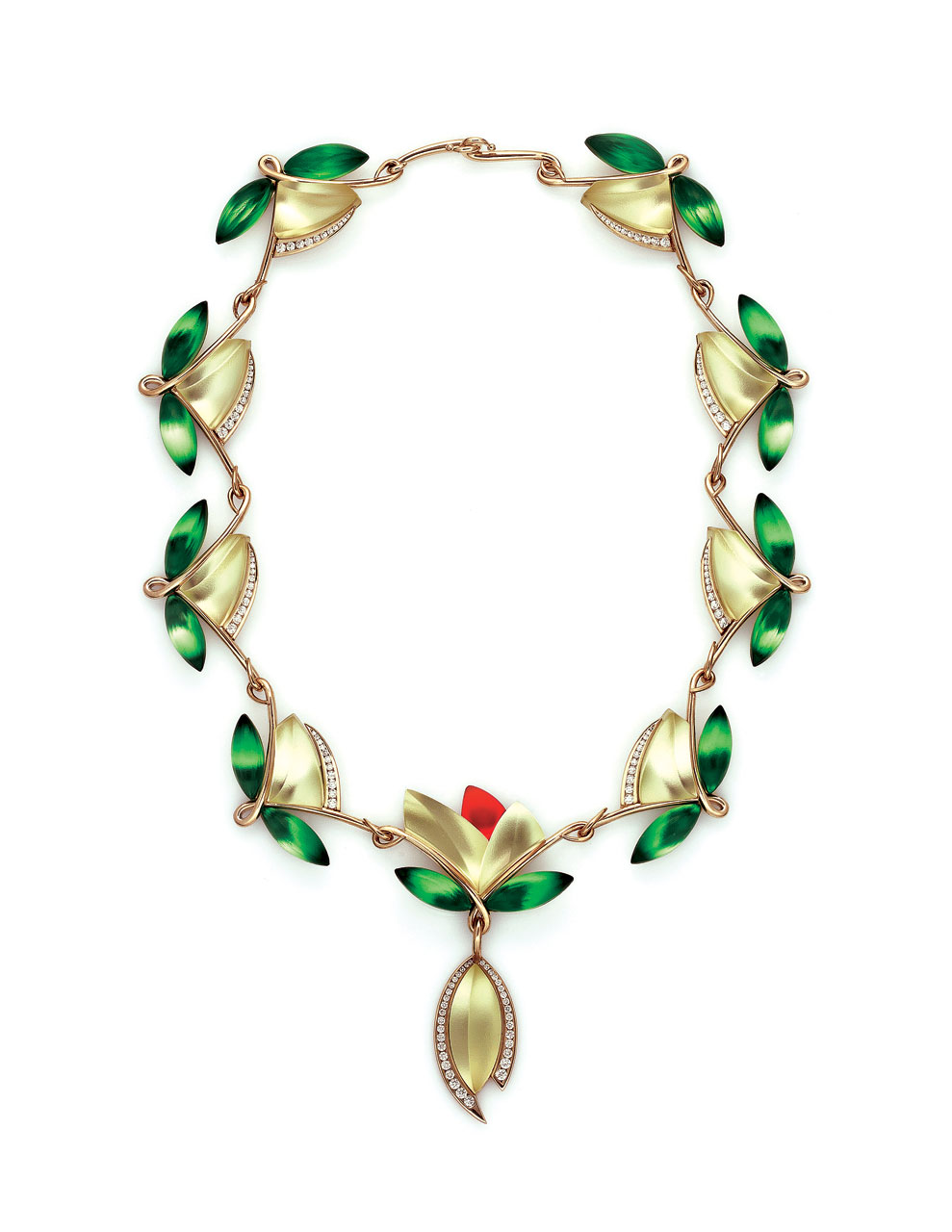PRIMAVERA NECKLACE, FLORAL SERIES NO. 98 of acid polished, light yellow, green, red, mirrored glass, eighteen karat yellow gold, white diamond detail, 15.2 centimeters diameter, pendant 7.6 x 2.5 x 1.3 centimeters, 2015.