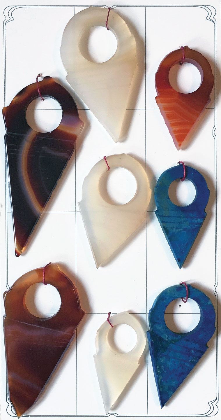 IDAR-OBERSTEIN:  Bead sample card FROM THE Gebrüder Wild Company, of hand-polished talhakimt, with sharp edges, thus pre-1960s. The blue agate examples have not been seen in the African trade.