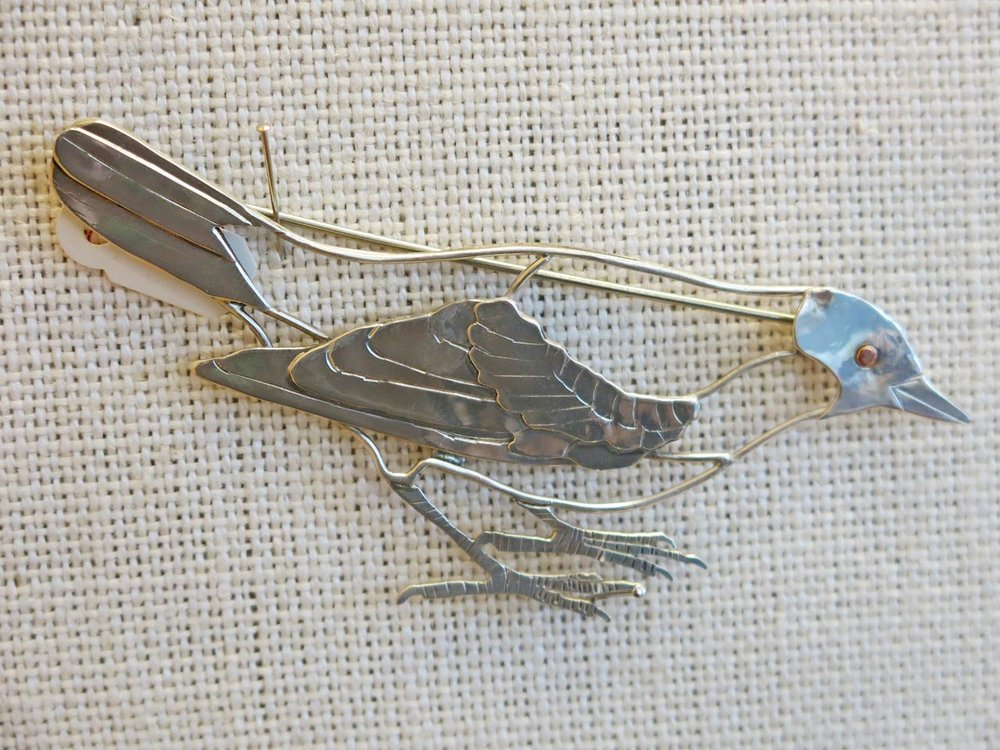 Bird brooch by Peggy Johnson.
