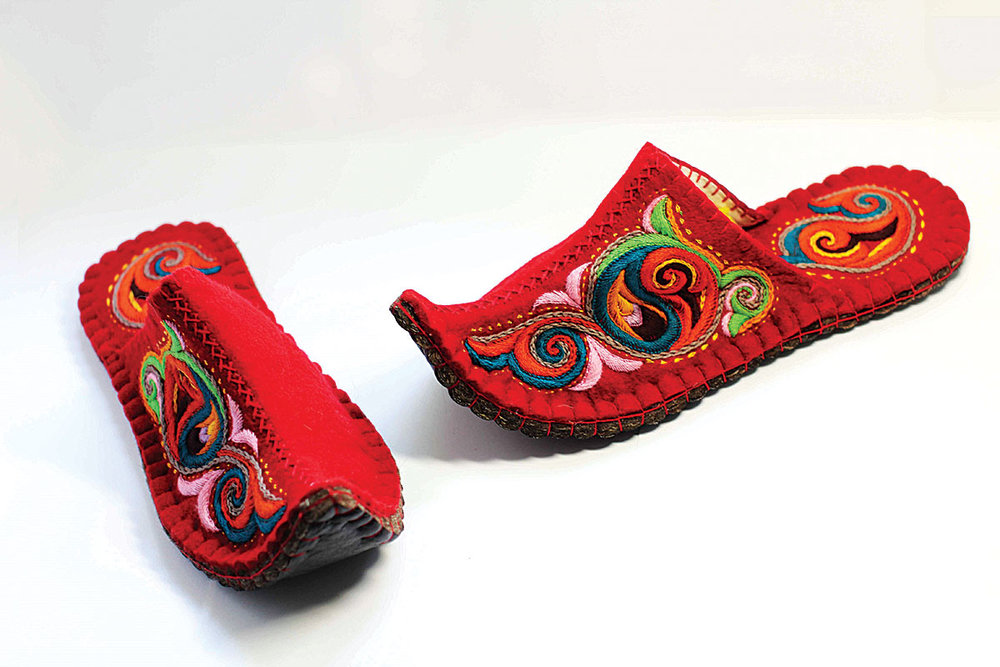 FELTED WOOL EMBROIDERED SLIPPERS by Gulzat Chytyrbaeva, Kyrgyzstan.