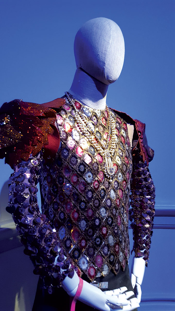 WINTER IS COMING... by Manish Arora of silk and metallic armor, hand-embroidered, hand-embellished, chain-linked by hand, 2015.  Photograph by Carolyn L.E. Benesh.
