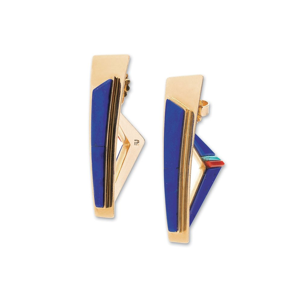 LAPIS LAZULI EARRINGS of coral, turquoise and fourteen karat gold, 4.1 centimeters long, 1992.  Private Collection.
