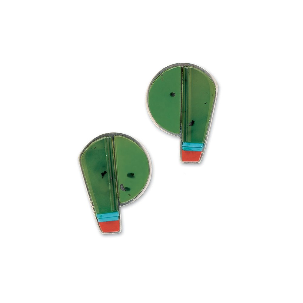 SIBERIAN GREEN JADE EARRINGS of coral, turquoise and silver, 3.2 centimeters long, 2009.  Collection of Carole Katz.