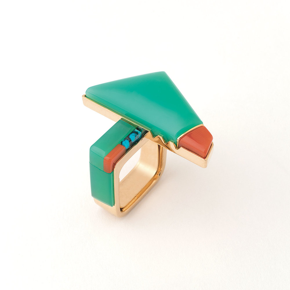 RICHARD CHAVEZ:  RING of chrysoprase, coral, turquoise, and fourteen karat gold, 2015.  Collection of Leslie Beebe and Bruce Nussbaum.