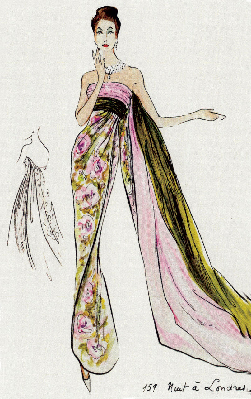 MADE IN PARIS!:  SKETCH FOR NUIT A LONDRES.  All photographs courtesy of the Queen Sirikit Museum of Textiles.