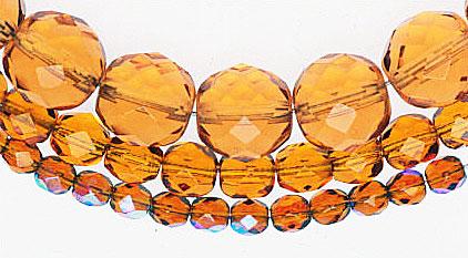 Czech firepolished beads, smallest have AB finish. Photo: Robert K. Liu