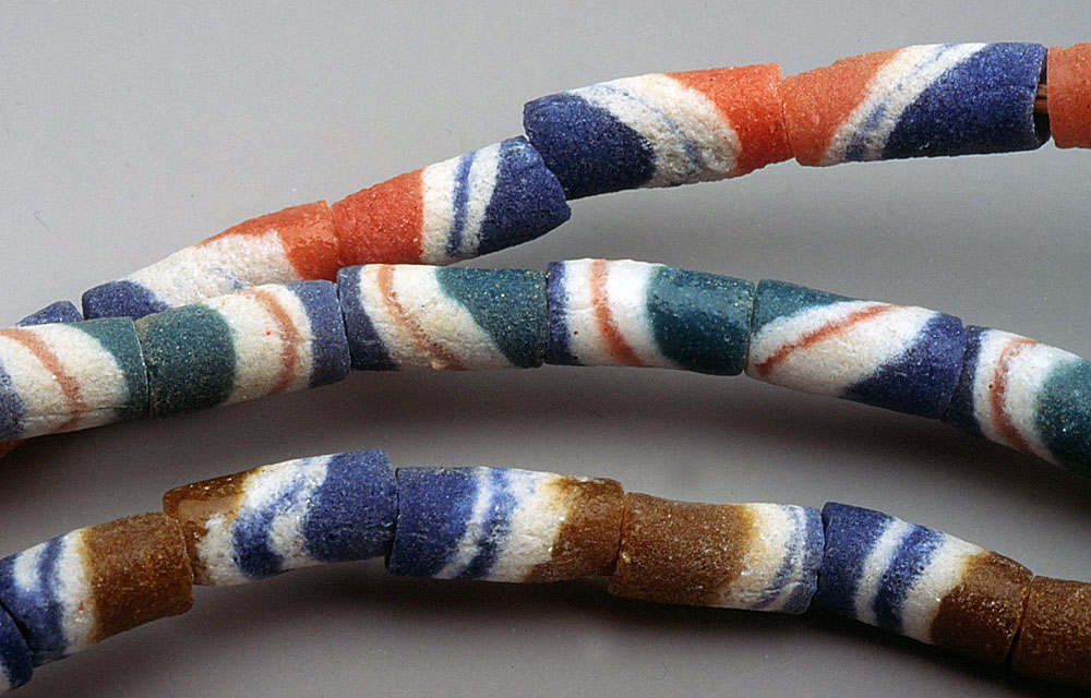 Cylindrical African powder glass beads. RKL