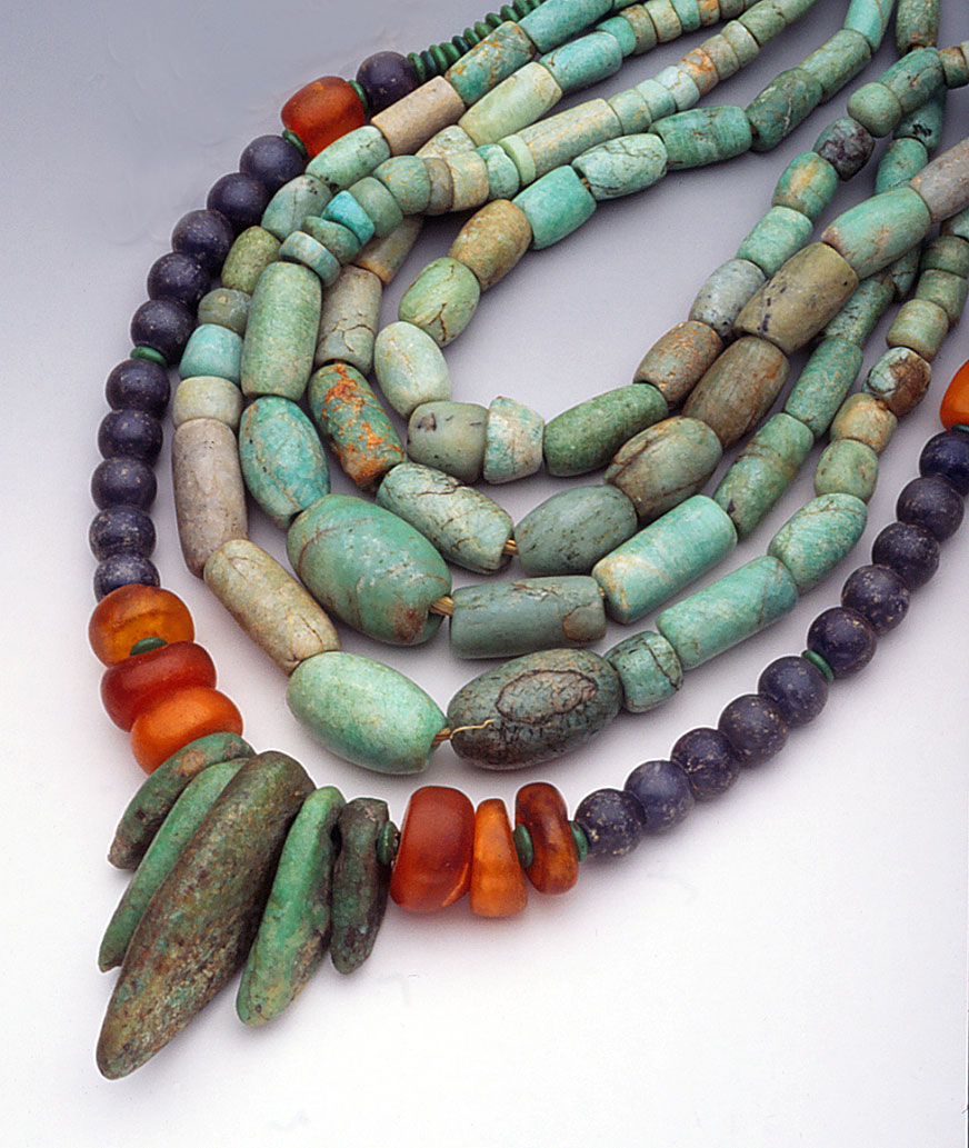 Four inner strands of amazonite beads, most likely ancient; outer strand contains amber and glass beads, as well as ancient amazonite pendants. Amazonite beads can be found in Mali and Mauritania. RKL