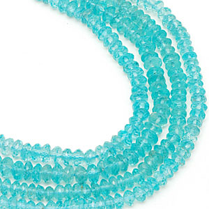 Strand of faceted blue apatite rondelles. CW
