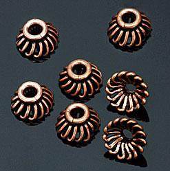 Copper bead caps. CW
