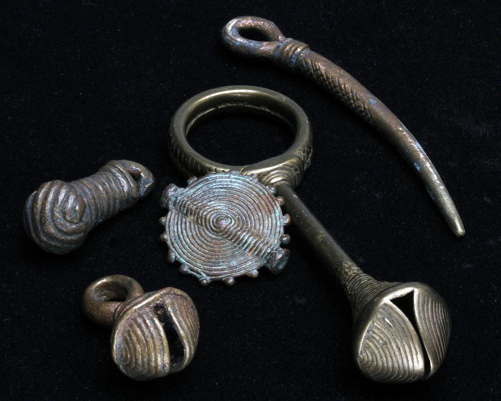 Vintage Baoule lost-wax cast brass pendants, many as bells. RKL