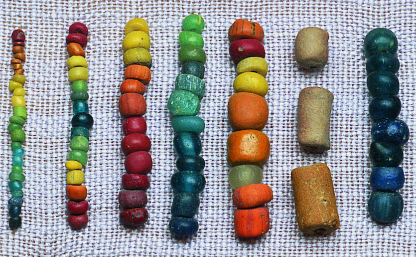Closeup of Indo-Pacific beads, most likely made in India, using the lada method, and not with a blowpipe. Courtesy of the now closed Bead Museum, Washington DC. RKL