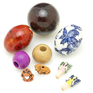 Chinese (top), Greek (middle) and Peruvian ceramic beads. CW