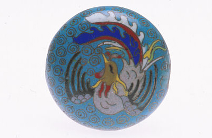 Antique tabular Chinese cloisonné bead with image of phoenix. RKL