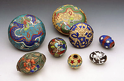 An array of antique tabular and spherical Chinese cloisonné and enamel beads. Courtesy of Ornament Collection. RKL