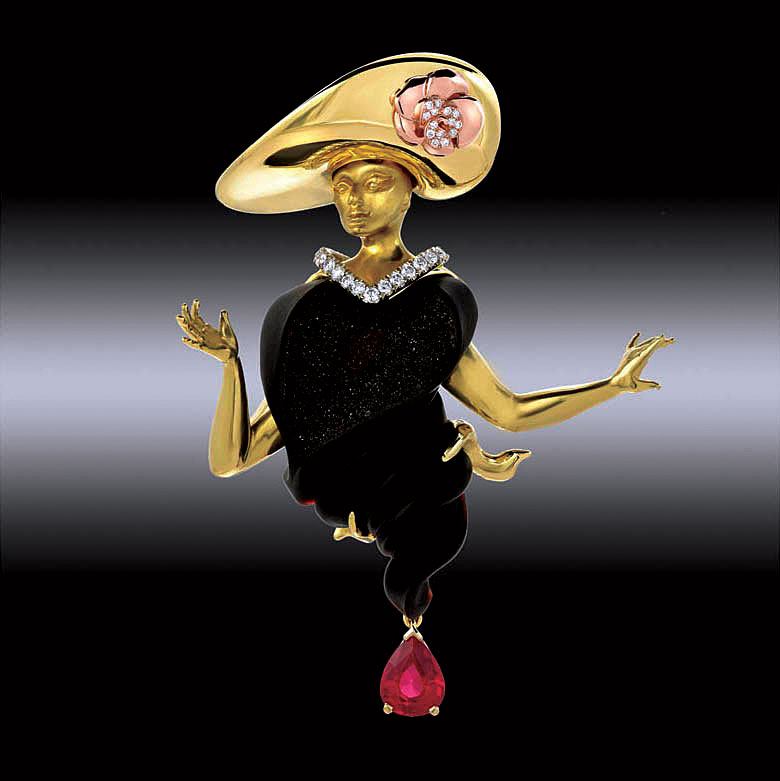 FIRST PLACE GOLD/PLATINUM.   Garen Garibian, USA, Mata Hari brooch of eighteen karat yellow, pink and white gold, druzy onyx, white brilliant-cut diamonds, and red spinel.