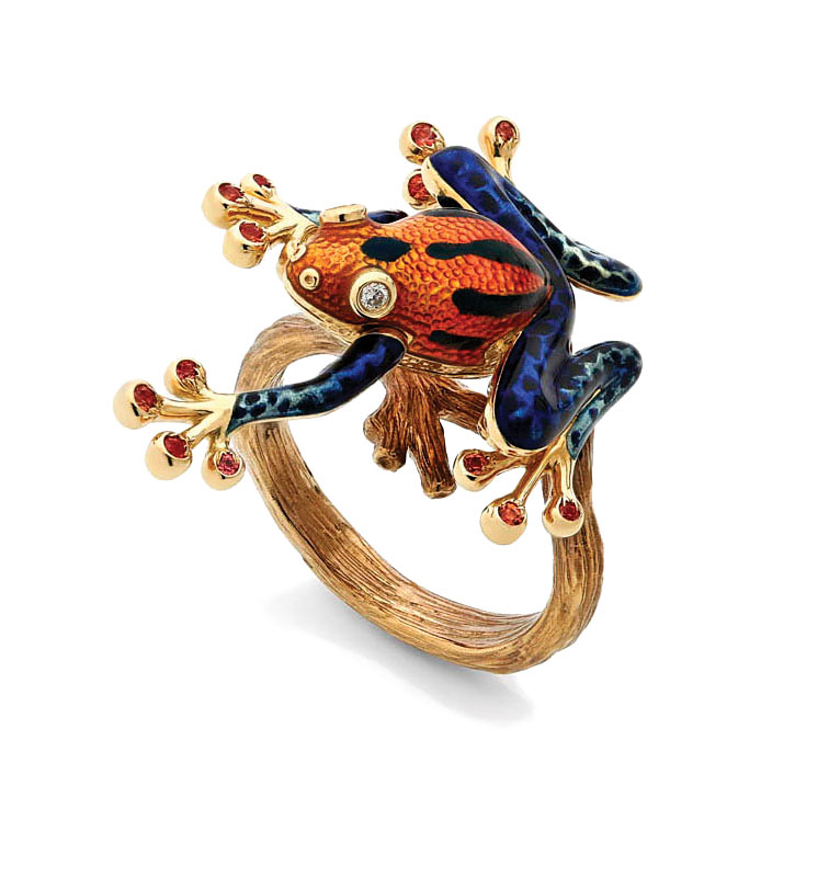 FIRST PLACE ENAMEL.   Carina Wong, Hong Kong, Leaping Tree Frog ring of  champlevé  enamel, eighteen karat gold, white diamonds, orange sapphires.