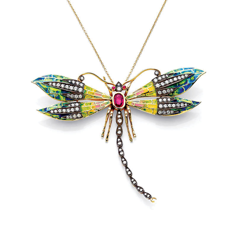 SECOND PLACE ENAMEL.   Sinork Agdere, USA, The Dragonfly pendant of  plique-à-jour  enamel, eighteen karat yellow gold, diamonds, and rubies.