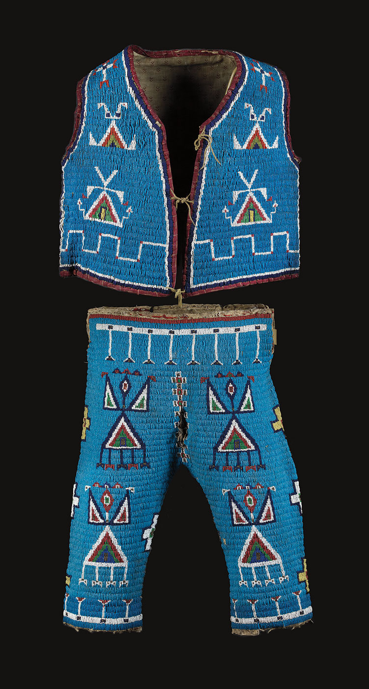 BOY'S VEST AND PANTS, Lakota nation, North or South Dakota, of native-tanned hide, glass beads, circa 1890.  Bob and Lora Sandroni Collection. Photograph by LA High Noon, Inc.