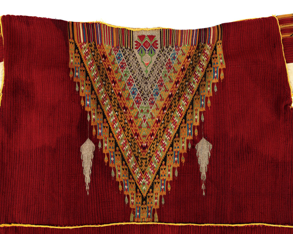 Dressed with Distinction:  MAN'S COAT ( damir ) of wool, cotton, metallic thread, weft-faced weave, toothed tapestry technique, Bedouin peoples, Aleppo, Ottoman Syria, late nineteenth to early twentieth century.