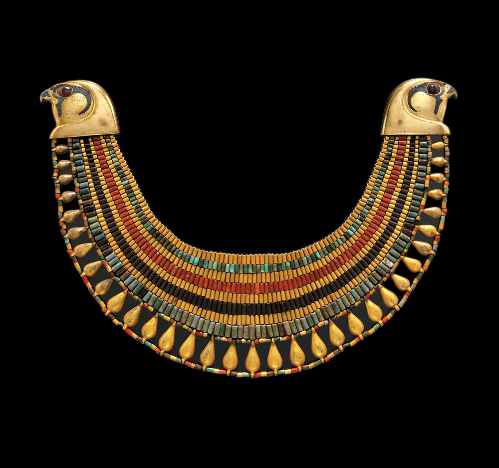 Jewelry. The Body Transformed:  BROADCOLLAR OF SENEBTISI of faience, carnelian, turquoise, gold, Egyptian, Middle Kingdom, 1859-1770 B.C.