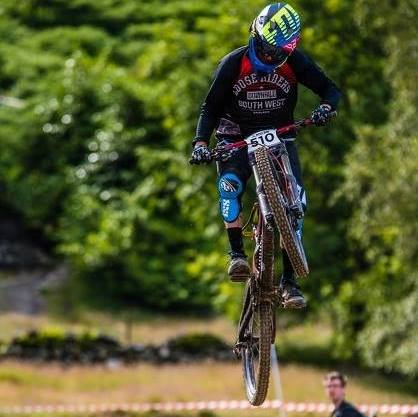Tony mid run, coming 3rd in the British National Champs in 2016 at Revolution Bikepark.