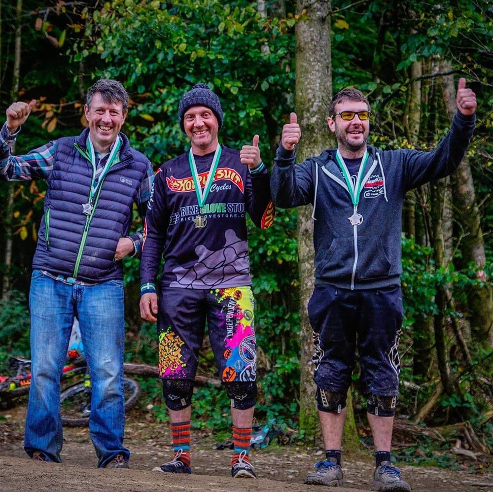 Tony bagging first spot on the podium at the Woodland Riders Winter Series DH 2017/2018