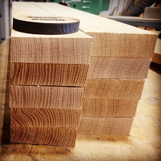 Some nice clear, straight & tight-grained 1/4 Sawn - White American Oak getting milled and prepped for production