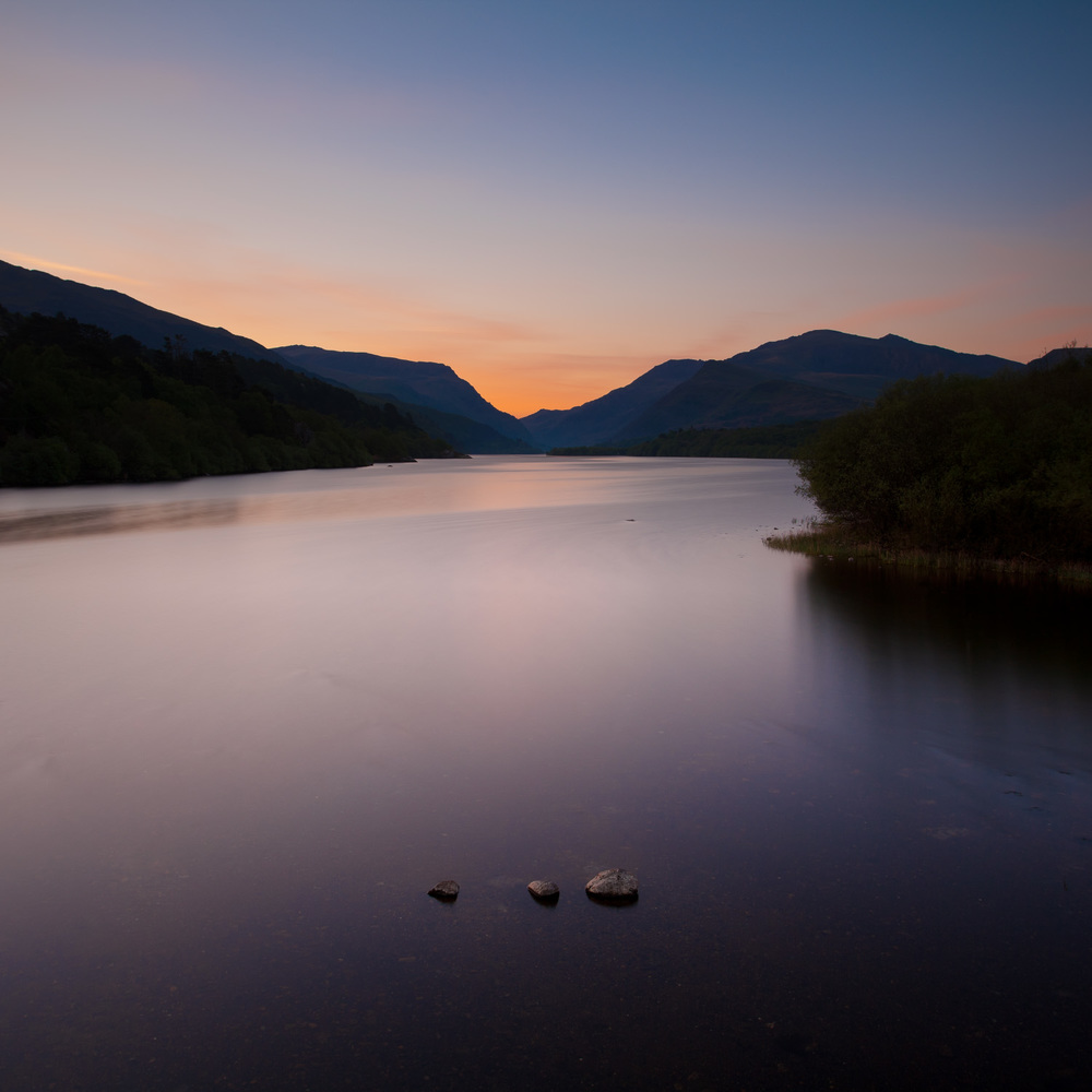 Sunrise over Llyn Padarn in Snowdonia, Wales.
