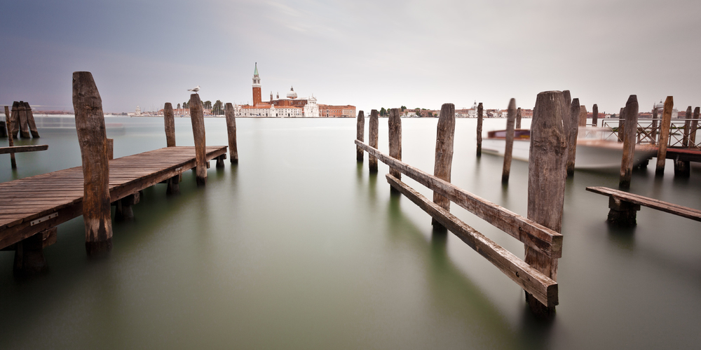 View of San Giorgio Maggiore on a rainy day in Venice, Italy.