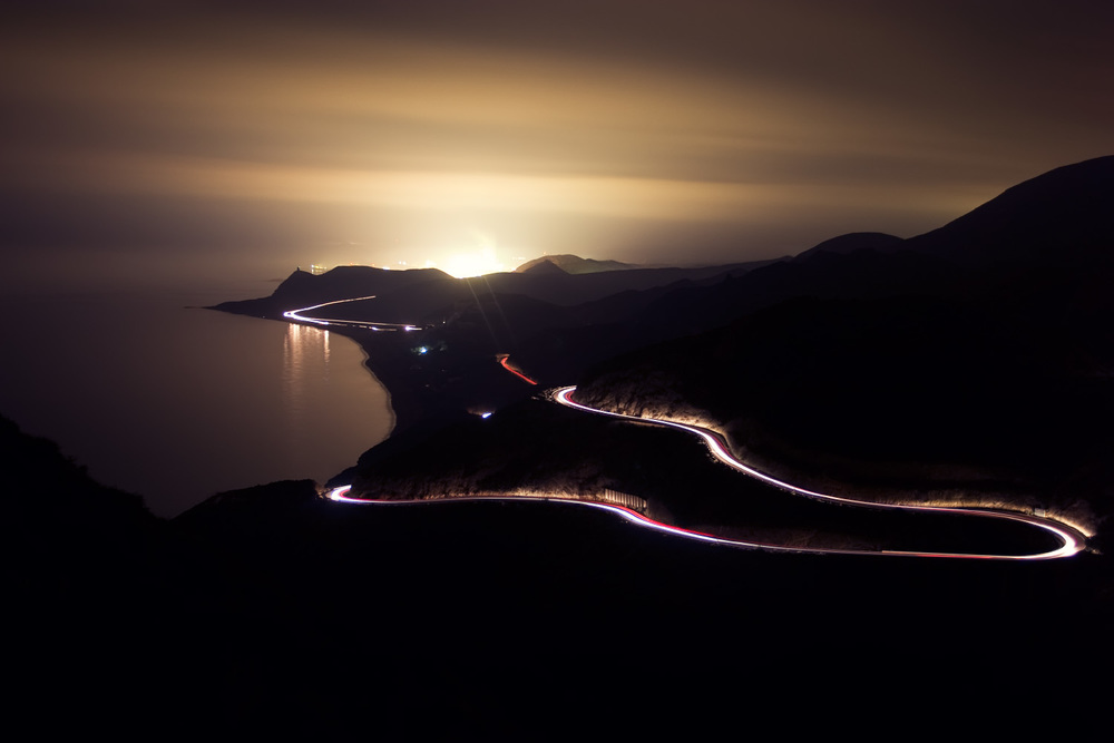Light trails on a mountain road in the little town of Carboneras in Spain.