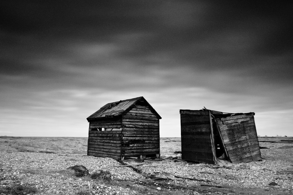 Dilapidated huts on the beaches of Dungeness on the southern coast of the UK.