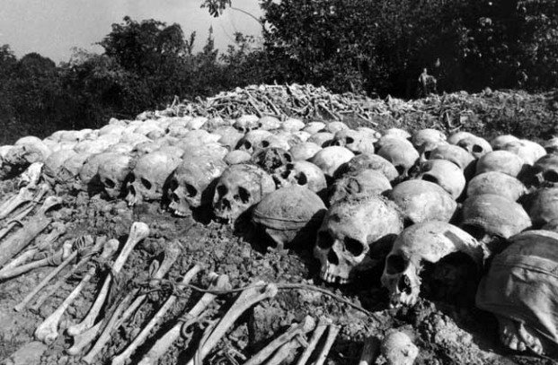 Remains of Khmer Rouge victims in one of many thousands of Killing Fields which would littler Cambodia under Pol Pot    and the Khmer Rouge's rule of the country