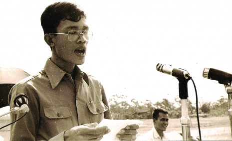 A young Hun Sen delivering a speech as foreign minister of the People's Republic of Kampuchea in the early 80s