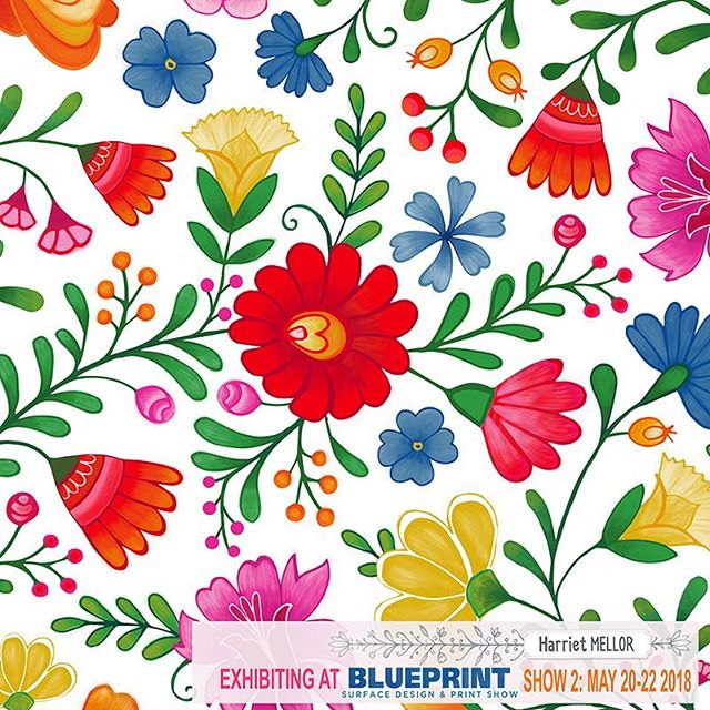 I am trying to add some designs to my portfolio in preparation for @blueprintshows 2, @ohn_mar_win just reminded me that we leave in 3 weeks time! #blueprintshow #floral #mexico #surfacedesign #surfacepattern #sketchbook #dscolor #summer #sketchbook #createartdaily #artlicensing #harrietmellor