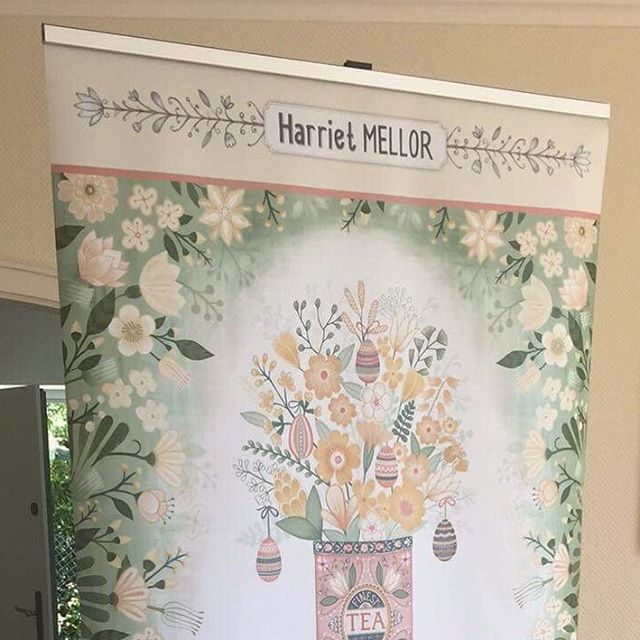 Every day at the moment the postman brings a new package I have ordered in preparation for @blueprintshows Show 2. This is the top part of one of my 4 banners - it's huge !!! #blueprintshow #artlicensing #banner #illustration #surfacepattern #surfacedesign #harrietmellor