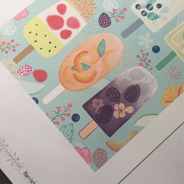 Printing off a few last minute designs I had forgotten about before the packing marathon starts @blueprintshows #blueprintshows #artlicensing #sketchbook #popsicles #icelollies #illustration #createeveryday #yummy #harrietmellor