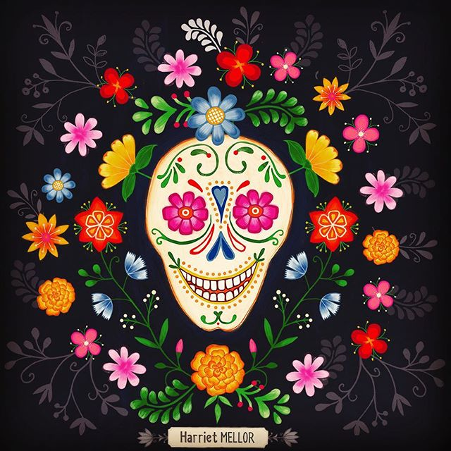 A sugar skull for #diadelosmuertos  #sugarskull #catrina #moodforfloral #flowerstagram #floraldesign #floralillustration #flowerartist #dsfloral #inspiredaily #prettyflorals #mexico #dscolor #harrietmellor