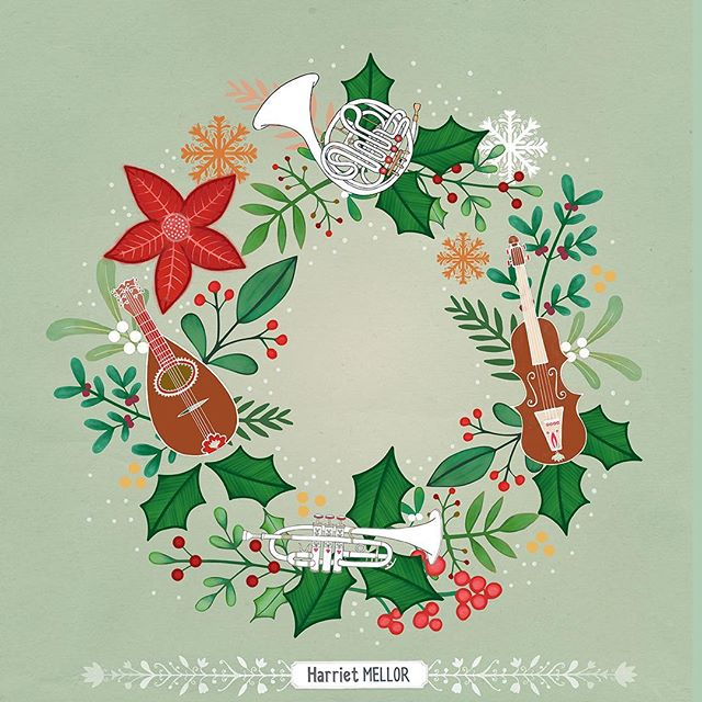 I had fun with @victoriajohnsondesign brief and palette this week for Create Christmas 3! @victoriajohnson_createexplore #christmas #wreath #holidaydecor #illustration #artlicensing #orchestra #surfacedesign #artdaily #harrietmellor