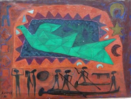 Ghaleb Khater, Dove of Peace, 1966, Oil on Canvas, 71x53cm, COURTESY :The artist and Hafez Gallery