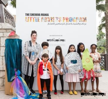 Polly Brannan with children at a workshop, Sheikha Manal Little Artists Program, Art Dubai 2016