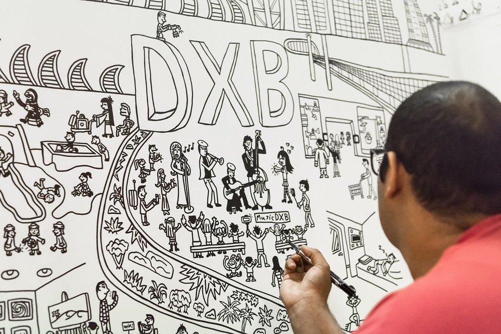 DXB artwork by Abdullah Lutfi from Mawaheb at Dubai Airports (artDXB)