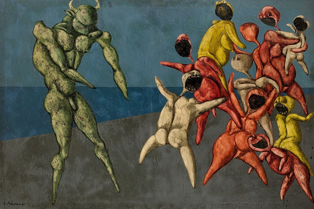 Bahman Mohasses, Il Minotauro fa Paura alla Gente per Bene, oil on canvas (est. £280,000-350,000).jpg