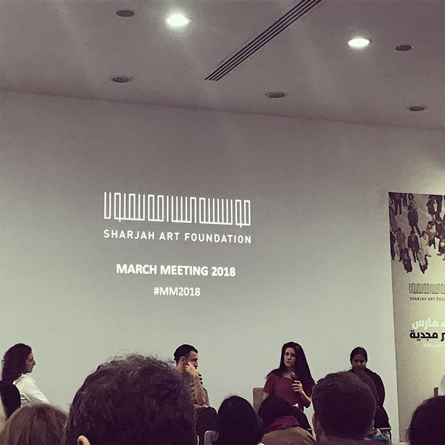 First talk at #MM2018 #Thisisnotaprogramme #activeforms relationships between spaces, artists, thoughts, organisation and books. Fascinating group discussion with case studies from #abirsaksouk #publicworks #sharminipereira @rakingleaves_publishing #alperturan @dasartproject #sallymizrachi @lugaradudas spanning from Beirut to Cali and Colombo to istanbul. #artweek18 #mm2018 #sharjahartfoundation