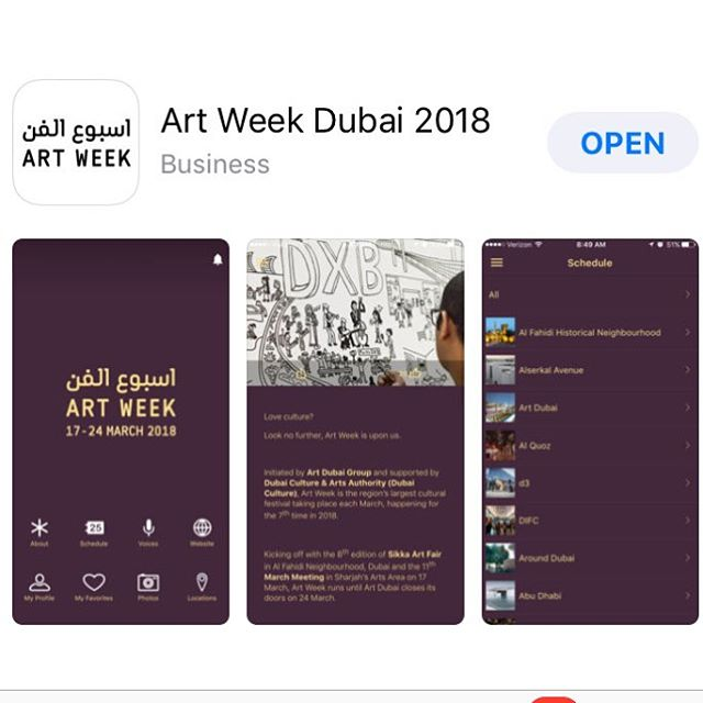 Don't forget to download the free mobile app for @artweekdubai #artweek18 your go to guide to plan this busy weekend of art @artdubai and across the #uae #mydubai #plan