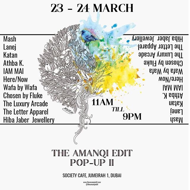 The second in The Amanqi Edit's pop up series, The Amanqi Edit Pop Up II will be open from the 23rd to 24th March from 11 am to 9 pm daily.  This retail experience has incorporated a beautifully curated selection of brands such as New-York based, Instagram sensation Here/Now, jewellery extraordinaire Hiba Jaber & local talent such as Lanej, Katan, Chosen by Fluke & Wafa by Wafa jewellery.  Stemming out from the traditional realms of a retail space, The Amanqi Edit Pop Up II also serves as a gallery space to exhibit the beautiful illustrations of prominent local illustrator & graphic designer, Marwa Hashim. Bringing together a contemporary aesthetic with a finely tuned skill set, Marwa's illustrations are one-of-a-kind.  #artweek18 #artweekdubai