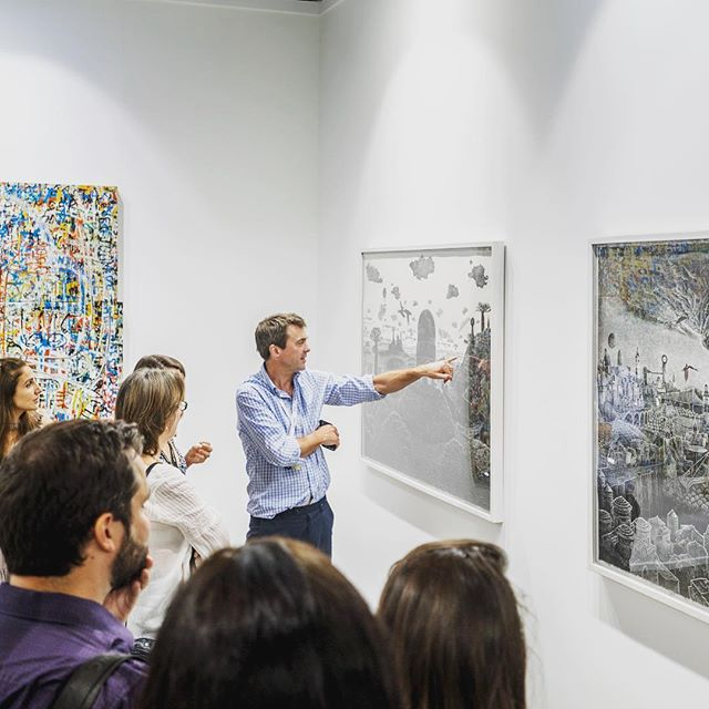 Last day of #artweek18 and it's a busy one! Make the most of all the many activities happening across town. @artdubai is open until 18:00 with free public tours at 14:00, 15:00 and 16:00. #artdubai #endisinsight #lastchance #artdubai2018 Photo of John Martin Gallery booth with artworks by Ade Adesina and Neale Howells. @jmgallery John was one of the cofounders of the fair and is participating for the first time this year. #fullcircle