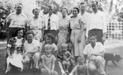 Stepping off the front porch for a family snapshot in 1946. Can you find me?