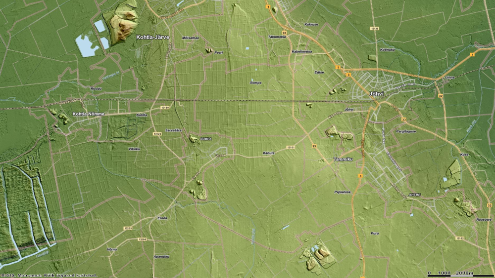 Relief Map of the Mining Area in Northeast Estonia